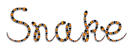 Snake Word Composed of Colored Serpents Royalty Free Stock Photo