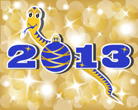 Snake year. New paper figures and a snake. Illustration of a gold and blue Royalty Free Stock Photography