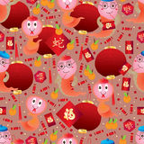 Snake year zodiac Chinese seamless pattern Stock Photo