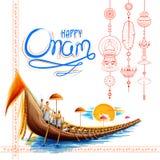 Snakeboat种族在Onam南印度喀拉拉的愉快的Onam节日的庆祝背景中 向量例证