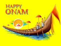 Snakeboat lopp i Onam berömbakgrund för den lyckliga Onam festivalen av södra Indien Kerala vektor illustrationer