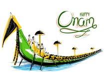 Snakeboat lopp i Onam berömbakgrund för den lyckliga Onam festivalen av södra Indien Kerala stock illustrationer