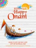 Snakeboat lopp i Onam berömbakgrund för den lyckliga Onam festivalen av södra Indien Kerala royaltyfri illustrationer
