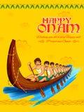 Snakeboat race in Onam celebration background for Happy Onam festival of South India Kerala. Illustration of snakeboat race in Onam celebration background for royalty free illustration
