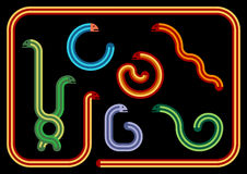Snakes. Snake Collection Illustration - Geometric Snakes in Different Colours and Positions Stock Photo