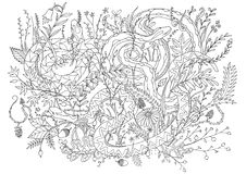 Snakes camouflaged in vegetation and shrubs. Line art for fill in coloring relaxing activity. Royalty Free Stock Image