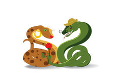 Snakes and flower Stock Image