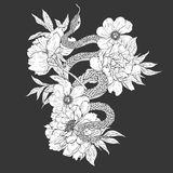 Snakes and flowers. Tattoo art, coloring books. Royalty Free Stock Images