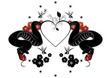 Snakes and heart design. Illustration of a heart with snakes, flowers, birds and stars Royalty Free Stock Photo