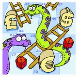 Snakes and ladders. A snakes and ladders game board with the currency symbols for pounds, dollars and euros as game pieces Stock Photo