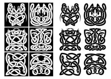 Snakes and reptiles celtic patterns. In black or white colors. For art or tattoo design Stock Image