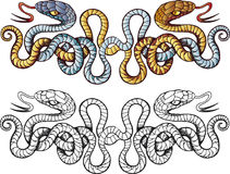 Snakes tattoo. Decorative design of snakes tattoo Royalty Free Stock Photography