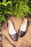 Snakeskin ballet flats, women's shoes on a rock. A Stock Image