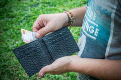 Snakeskin python leather wallet with money in male hands on green background. Tropical Bali island. Snakeskin python leather wallet with money in male hands on Royalty Free Stock Image