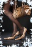 Snakeskin shoes and handbag Royalty Free Stock Photography