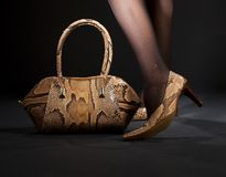 Snakeskin shoes and handbag. Long legs in snakeskin shoes with handbag over black Royalty Free Stock Photo