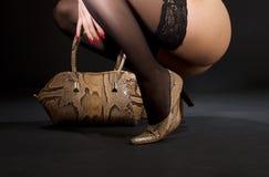 Snakeskin shoes and handbag Stock Photo