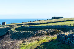 Snaking through the fields. Coast path in north yorkshire, in ravenscar Stock Image