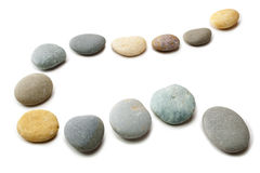 Snaking Line of Twelve Pebbles Steps Isolated Stock Photo