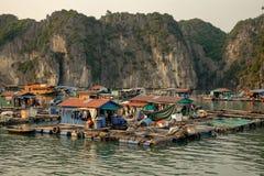 Snakt het drijvende dorp van Cai Beo op zonsondergang in Ha Baai Royalty-vrije Stock Afbeelding