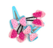 Snap Barrette Hair Clips on white background. Royalty Free Stock Images