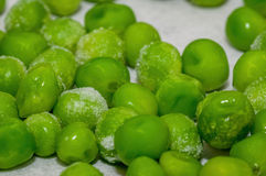 Snap-frozen peas. Out of the freezer, during the thawing process Stock Image