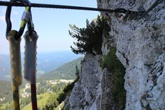 Snap-hook in Heli - Kraft - Klettersteig, Hochkar. Austria Royalty Free Stock Photography