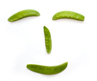 Snap Peas smile face isolated on White Stock Images