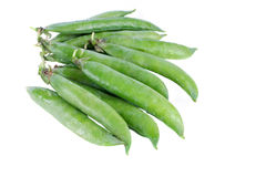 Snap Peas on White Stock Images