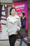 Snap portrait of  a girl. A fashion girls is going to shopping Stock Image
