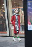 Snap portrait of a girl. A fashion girl is window shopping Royalty Free Stock Images
