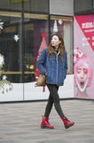 Snap portrait of a girl. A girl  is going to shopping Royalty Free Stock Images