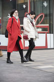 Snap portrait of  girls. Two fashion girls are going to shopping Stock Images