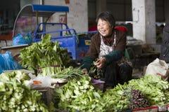 Snap portrait of an senior vegetable saler Stock Photos