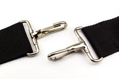 Snap ring 01. Snap ring and black rope on isolate background Royalty Free Stock Photos