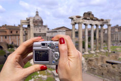 Snap shot. Tourist taking picture of the Roman Forum Stock Images