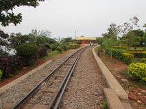 Meter gauge railways line at indian garden for safari. This snap is taken from kailashgiri park, a indian park looking awesome. local municipal corporation have Royalty Free Stock Photography