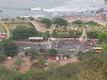 Awesome view of street junction at sea beach from top of a hill. This snap is top view of sea looking awesome taking from hill Royalty Free Stock Image