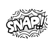 Pop art style sticker. Snap, word in speech bubble patch badge. Comic book style  sticker, pin, patch in cartoon 80s-90s comic style Royalty Free Stock Photos