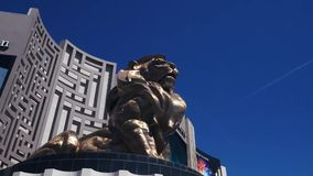Snap zoom shot of lion outside of MGM Grand stock footage
