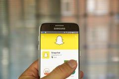 Snapchat app na Samsung S7 Obrazy Stock