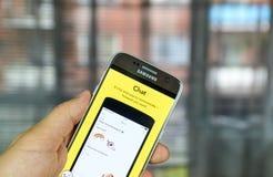Snapchat-Chat auf Mobiltelefon Lizenzfreie Stockfotografie