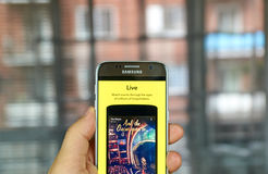 Snapchat Live on cell phone. MONTREAL, CANADA - JULY 1, 2016 - Snapchat Live on android cell smartphone. Snapchat is a mobile messaging application used to share stock photography