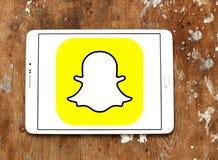 Snapchat logo. Snapchat application logo and vector on samsung tablet stock image