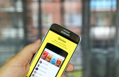 Snapchat Stories on cell phone. MONTREAL, CANADA - JULY 1, 2016 - Snapchat Stories on android cell smartphone. Snapchat is a mobile messaging application used to stock photo