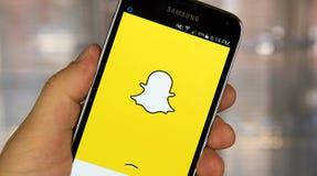 Snapchattoepassing op androïde smartphone Royalty-vrije Stock Foto
