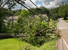 Snapped and downed power post and line after storm stock image