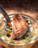 Snapper filet met groenten Royalty-vrije Stock Foto's