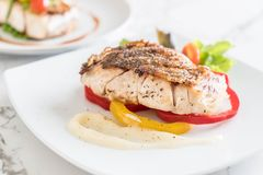 Snapper fish steak. With vagetable Stock Photos