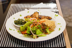 Snapper steak,Fried rice with butter and salads. Stock Photography